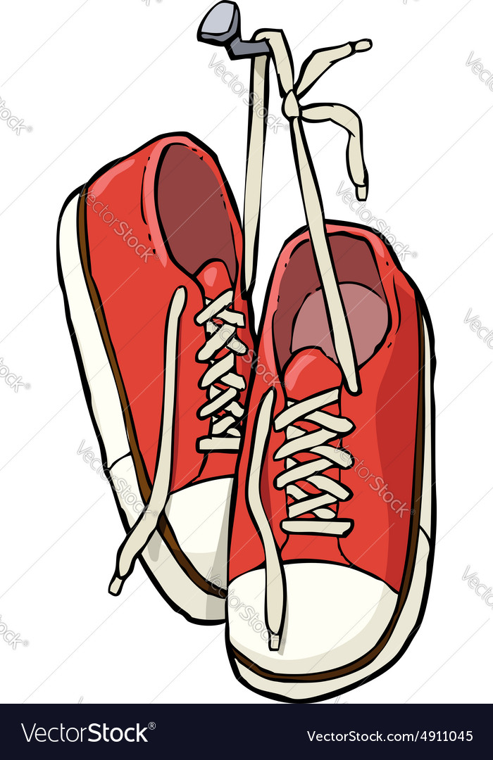 Shoes on a nail vector