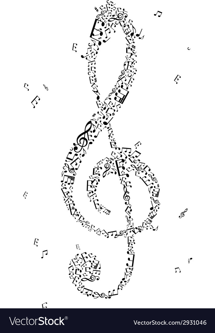 Black treble clef of music notes vector