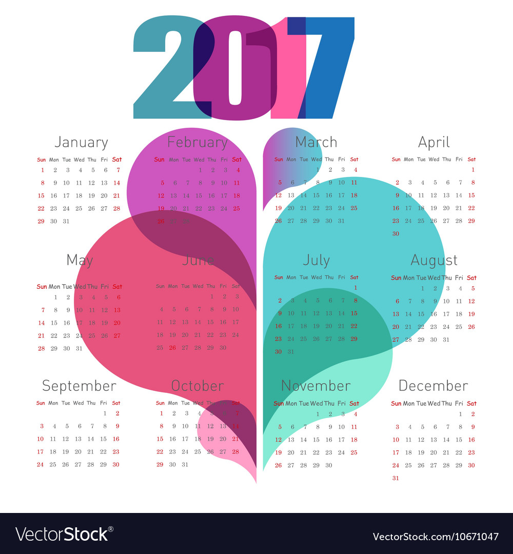 Abstract calendar 2017 with colorful shapes vector