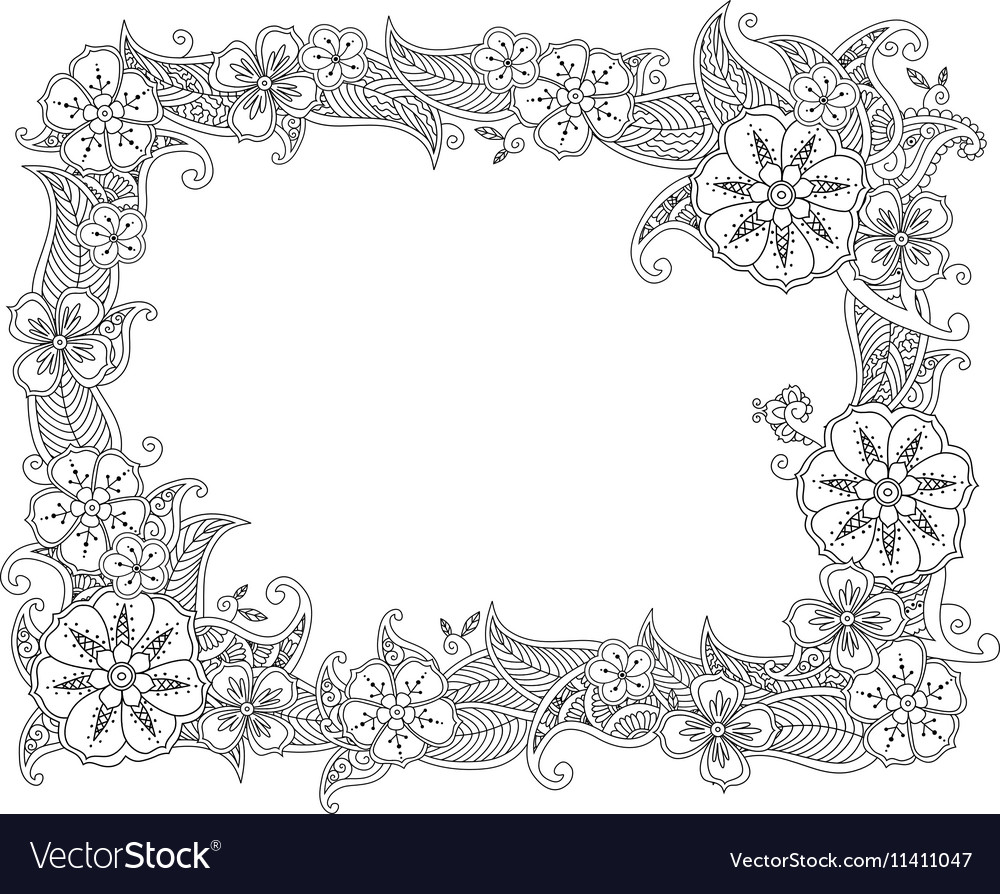Floral hand drawn horizontal frame in zentangle vector