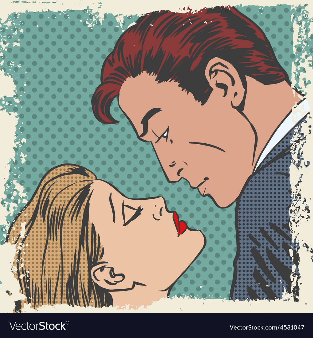 Man and woman about to kiss pop art comics retro vector