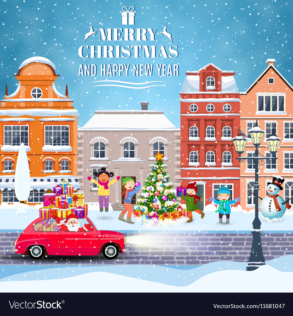Winter city street with trees and car vector