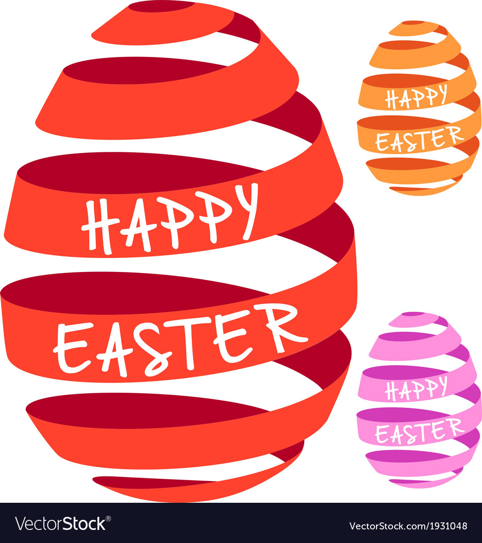 3d ribbon easter eggs vector