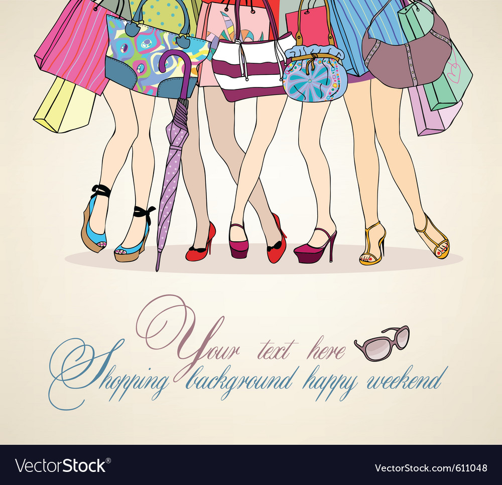 Women shopping background vector
