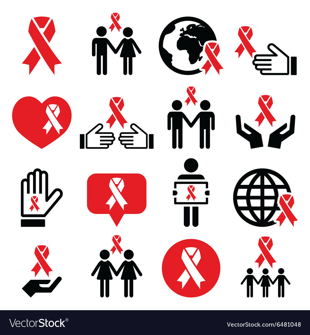 World aids day icons set  red ribbon symbol vector