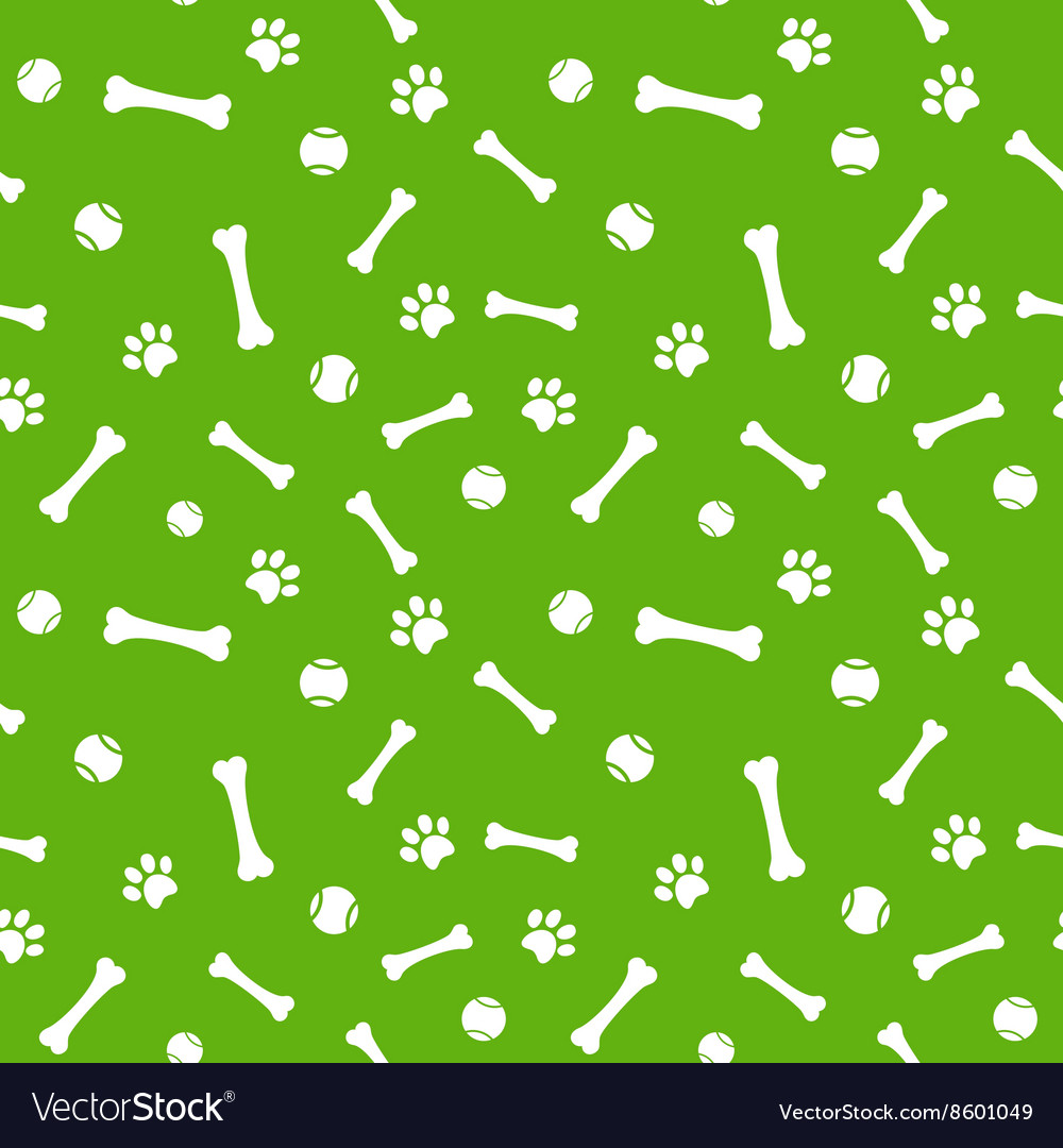 Dog paw print bone and ball seamless pattern vector