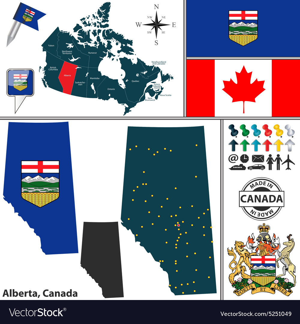 Map of alberta vector