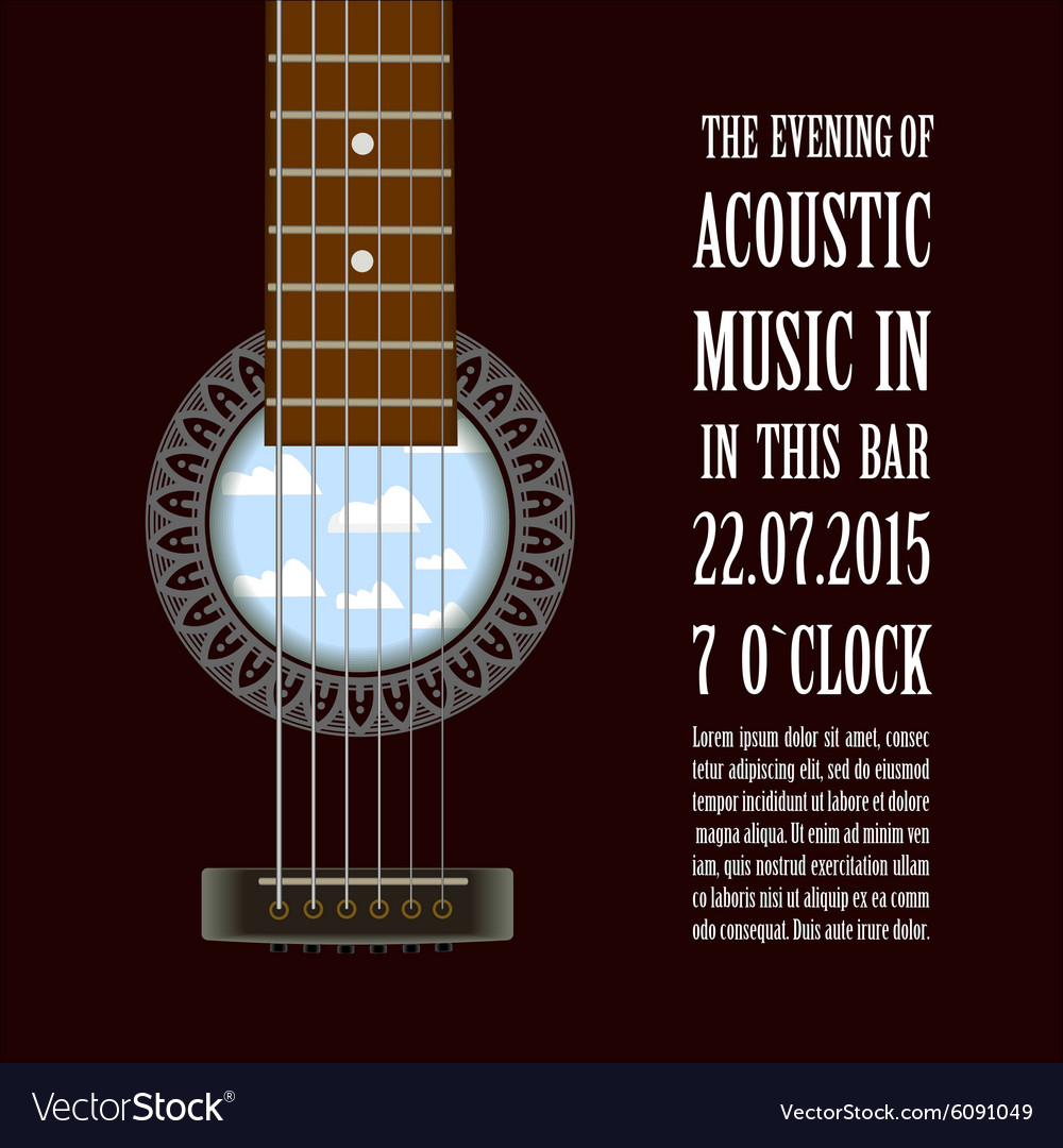 Poster with acoustic guitar vector