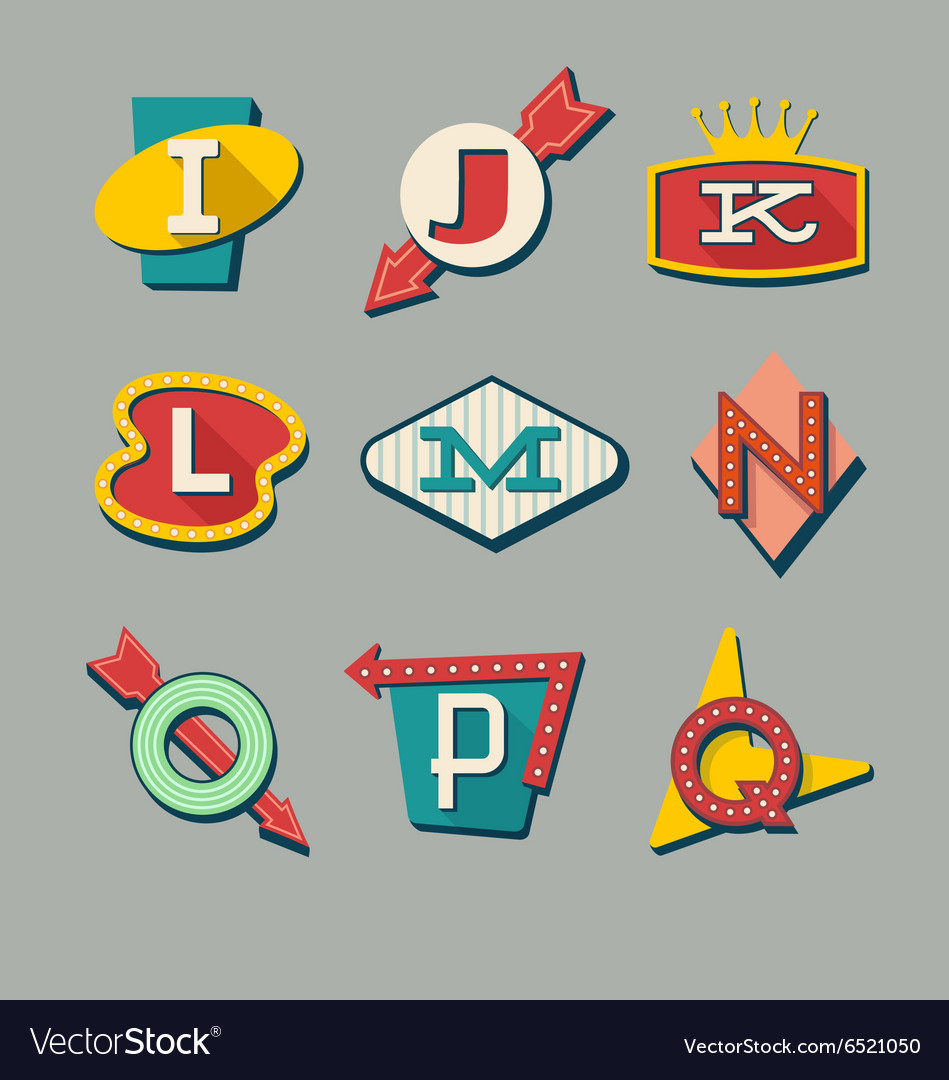 Alphabet letters on retro signs vector
