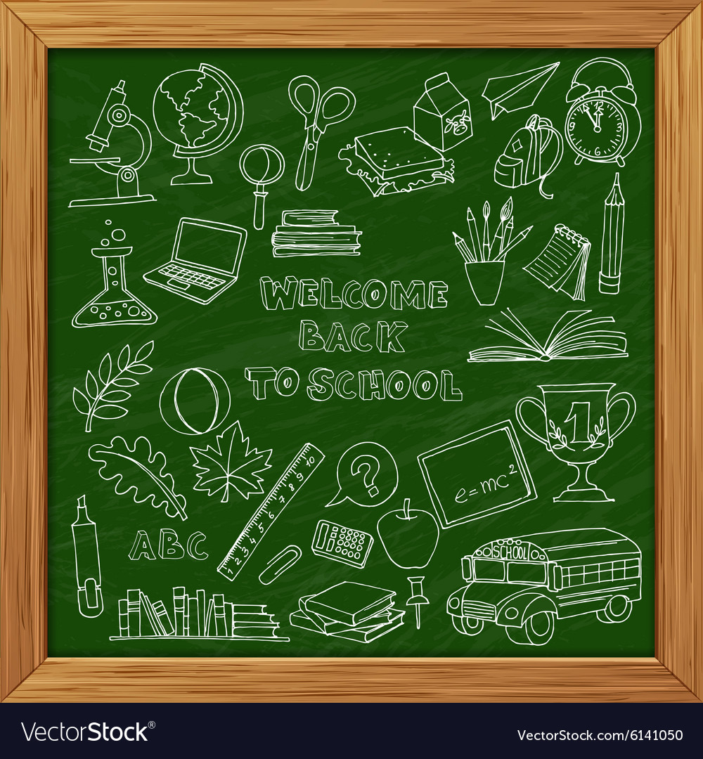 Back to school set of kids doodles with bus books vector