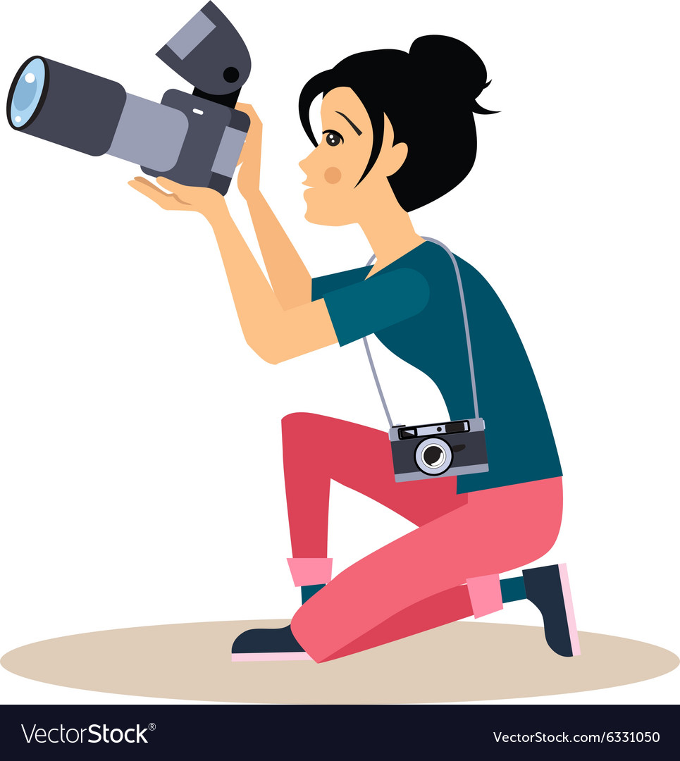Girl photographer in flat style vector