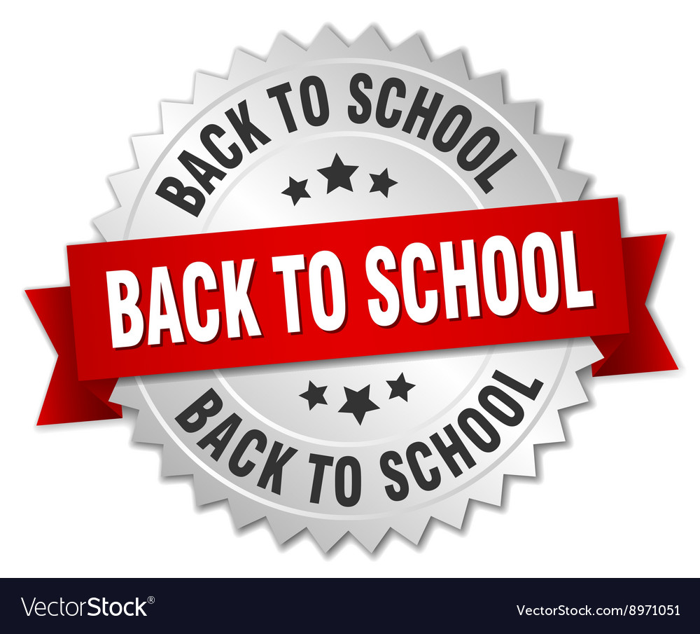 Back to school 3d silver badge with red ribbon vector