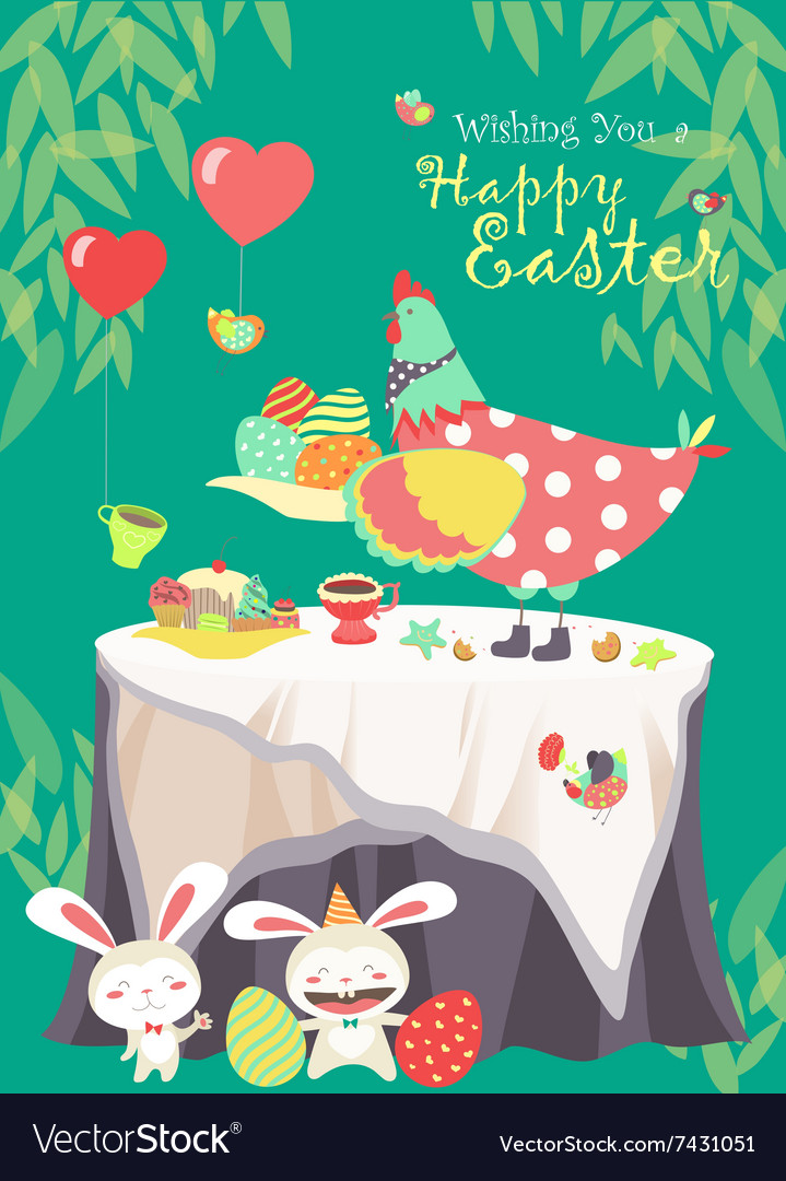 Easter bunnieschicken and easter eggs vector