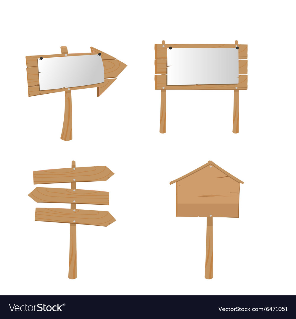 Wood placard plank sign boards vector