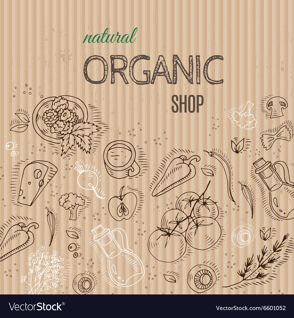 Organic shop concept with vegetables on cardboard vector