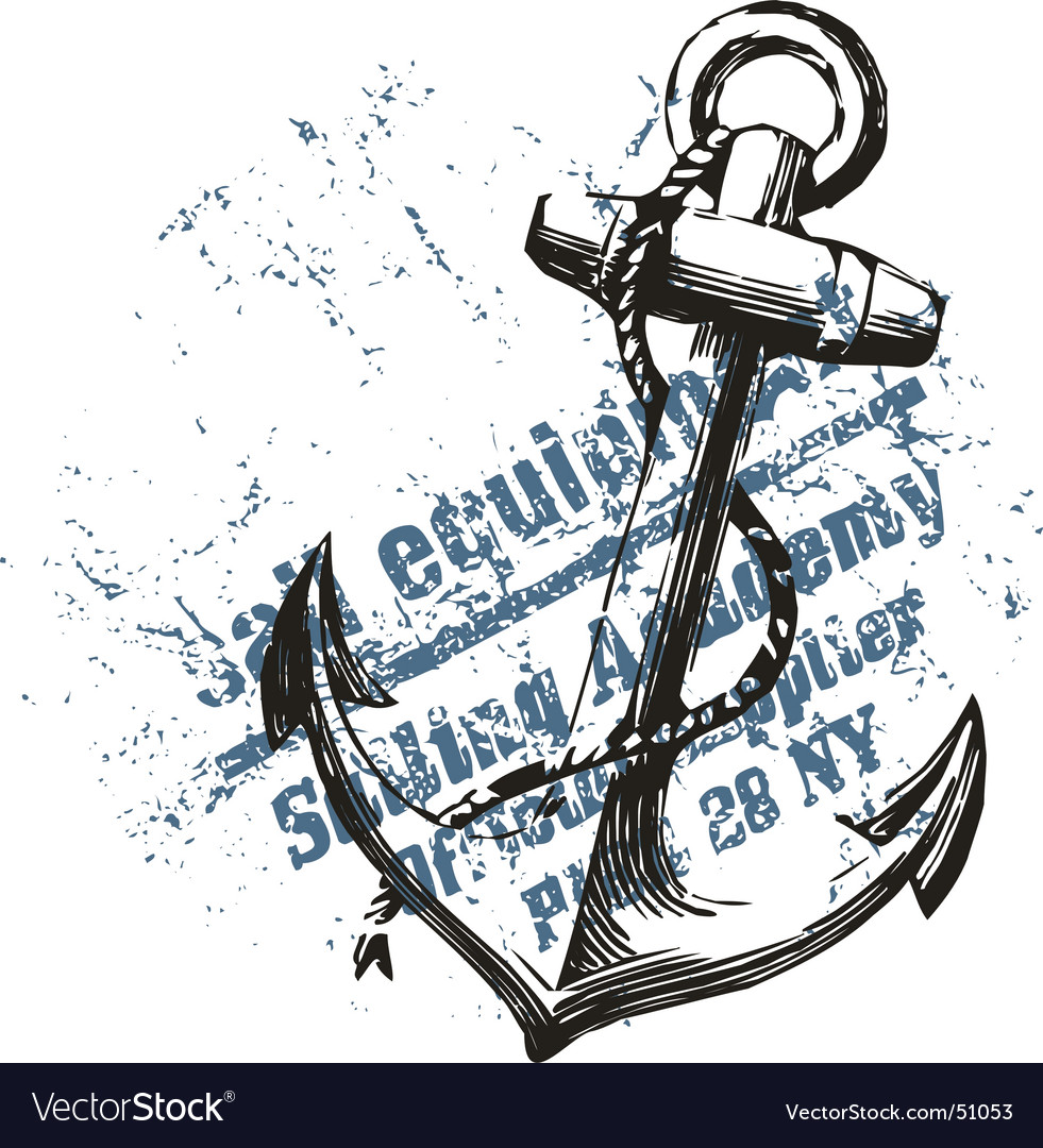 Anchor grunge design vector