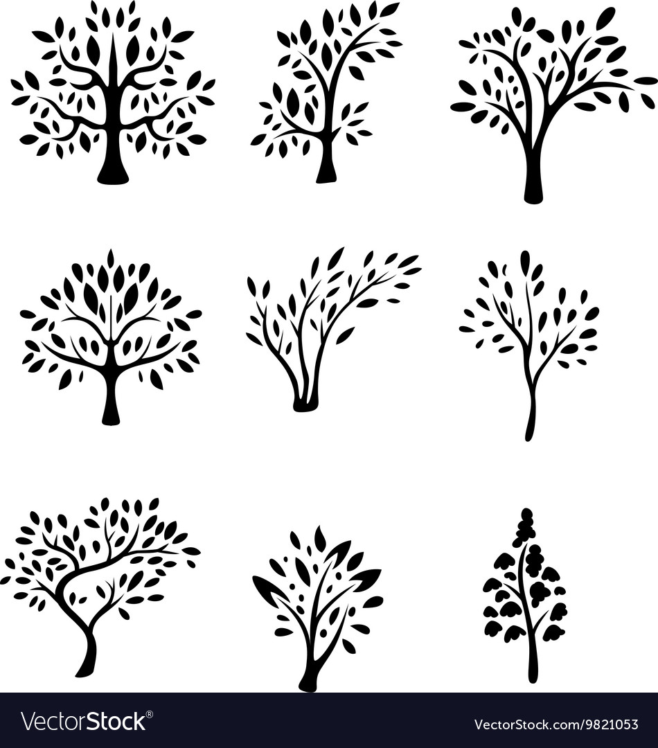 Collection black tree silhouette vector
