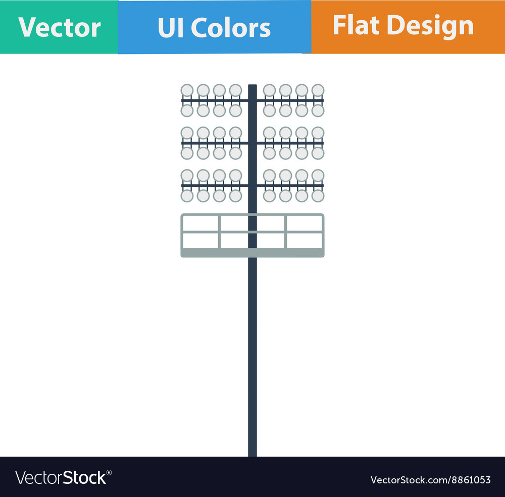 Flat design icon of football light mast vector