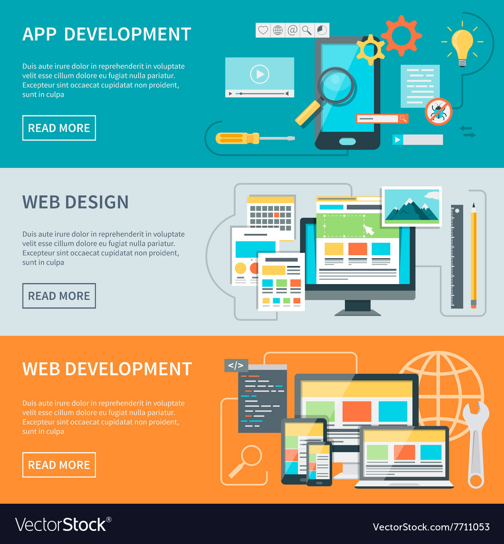 Website development banners vector