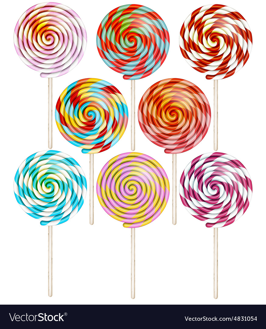 Candy on stick with twisted design eps 10 vector