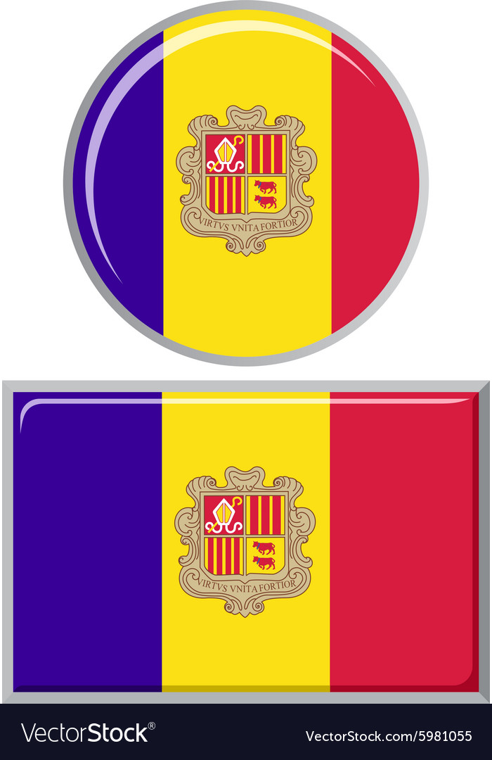 Andorran round and square icon flag vector