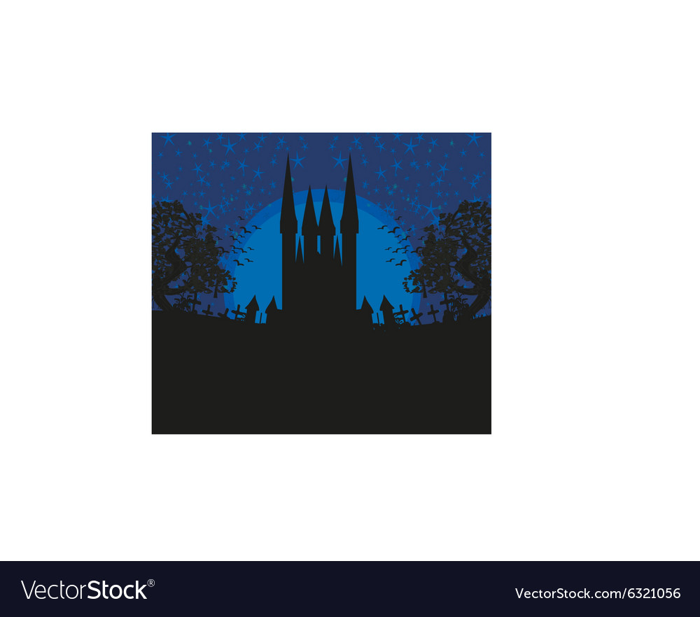 Abstract landscape with old castle and moon vector