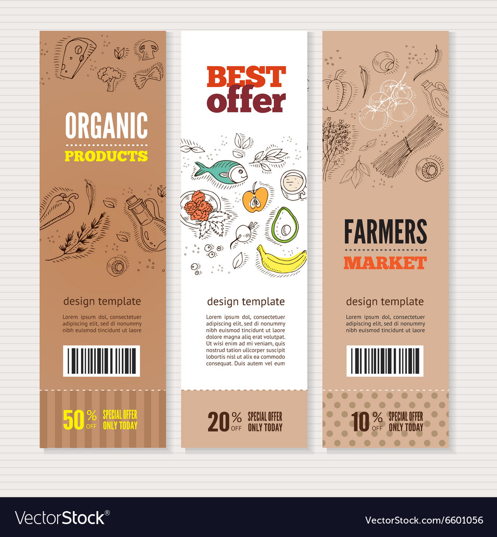 Set of banners on cardboard in hand drawn style vector