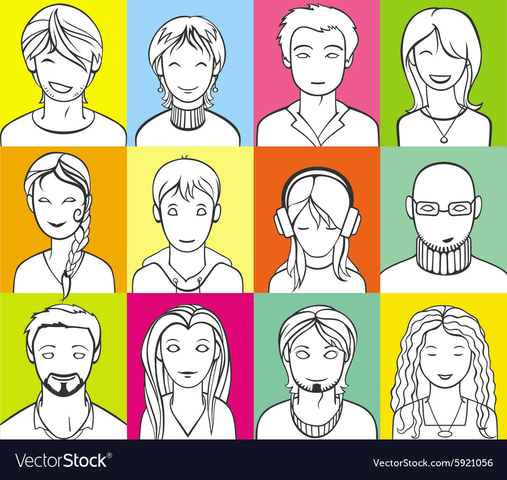 Unrecognizable people faces vector