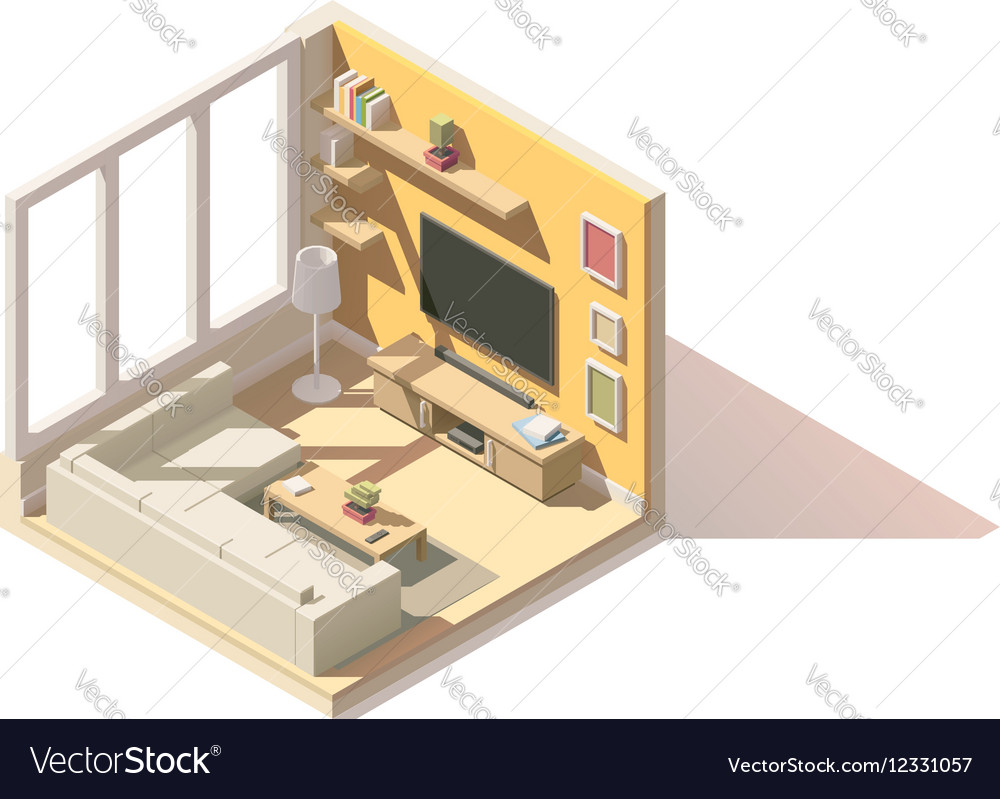 Isometric low poly living room icon vector