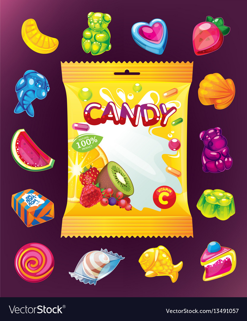 Jelly candy set and packaging vector