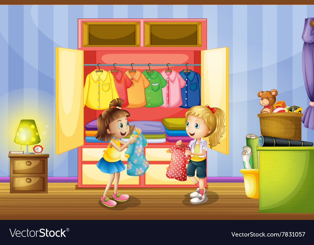 Two girls choosing clothes from closet vector