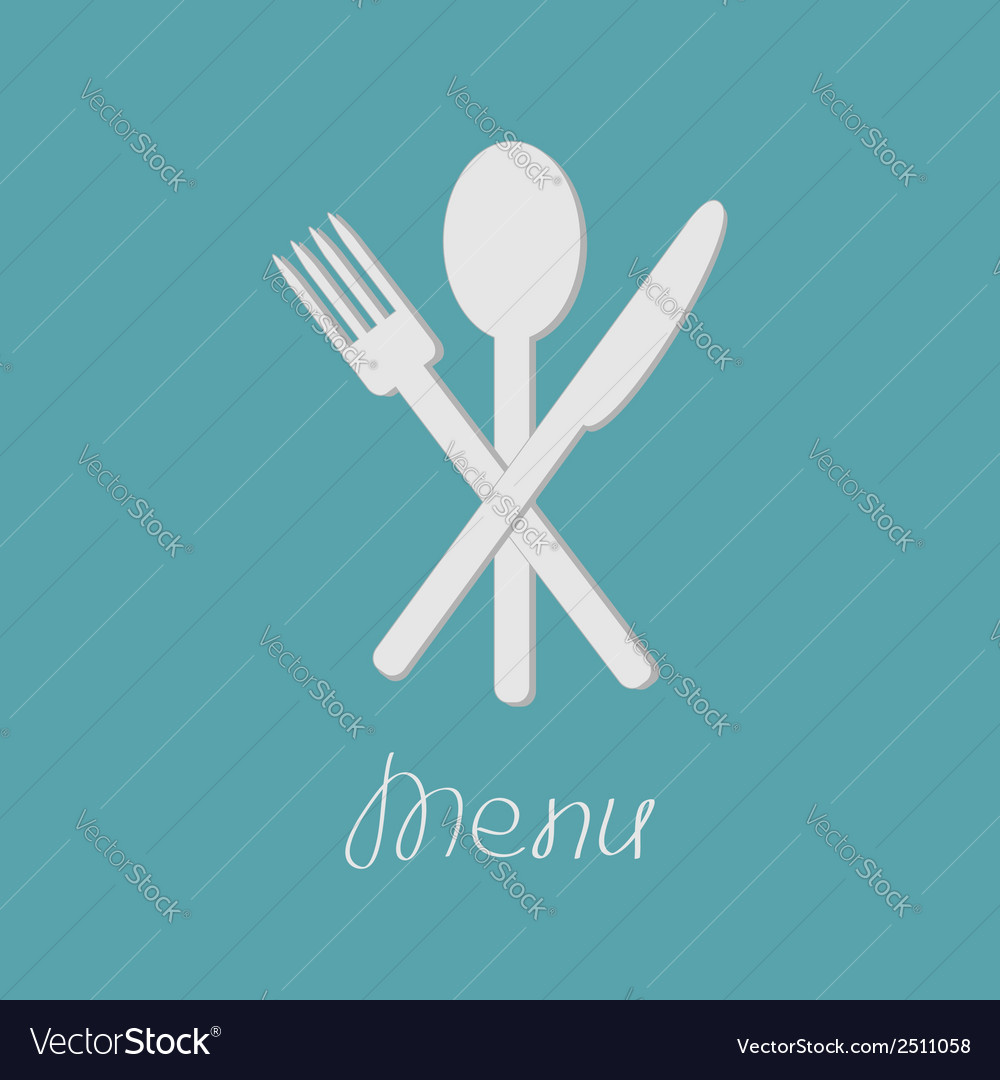 Fork spoon and knife menu card flat design style vector