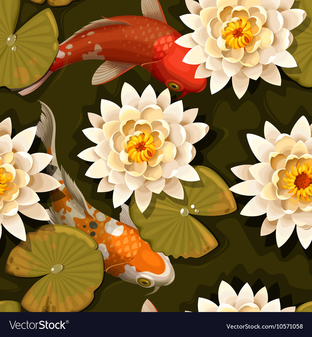 Seamless carps and lotus vector