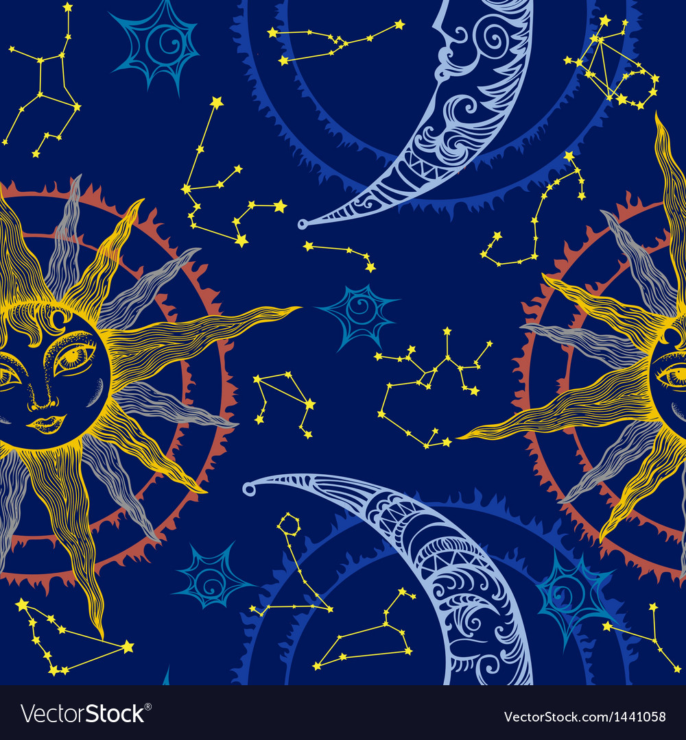 Sun moon and zodiac vector