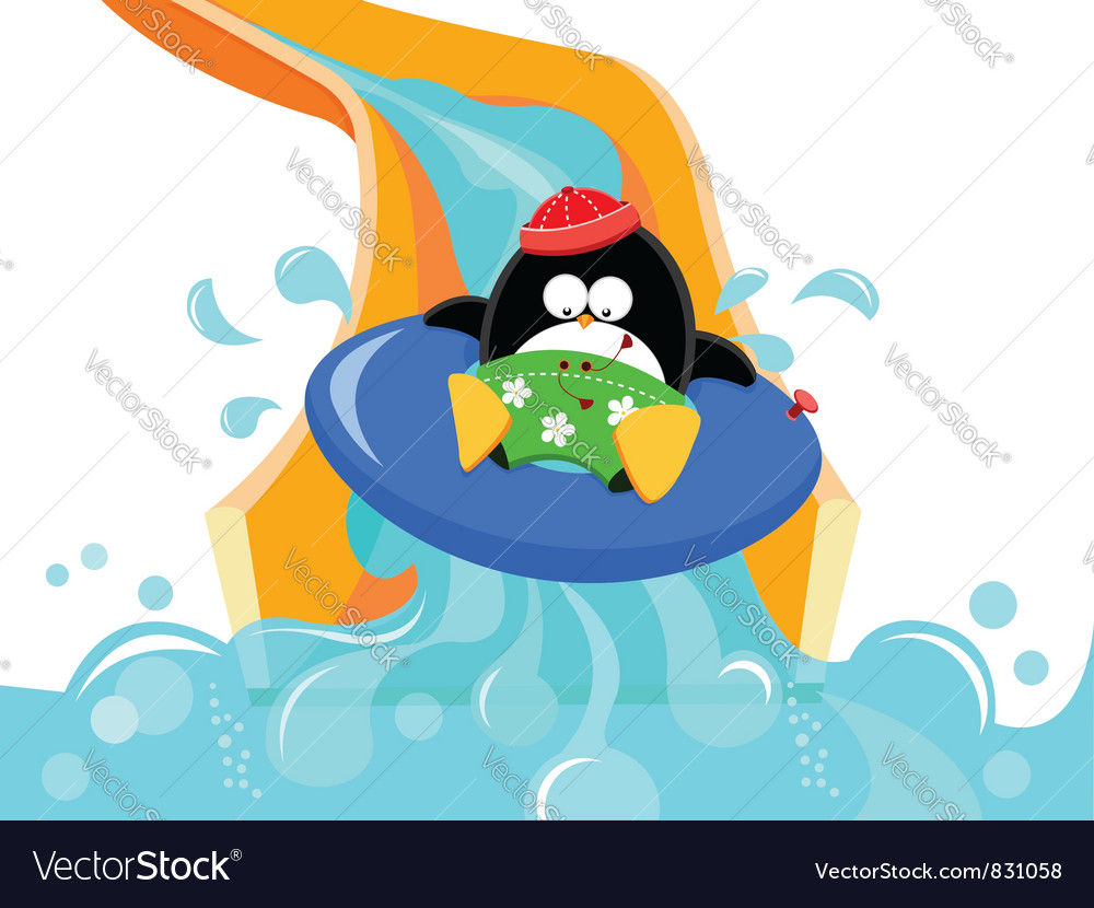 Water slide penguin vector