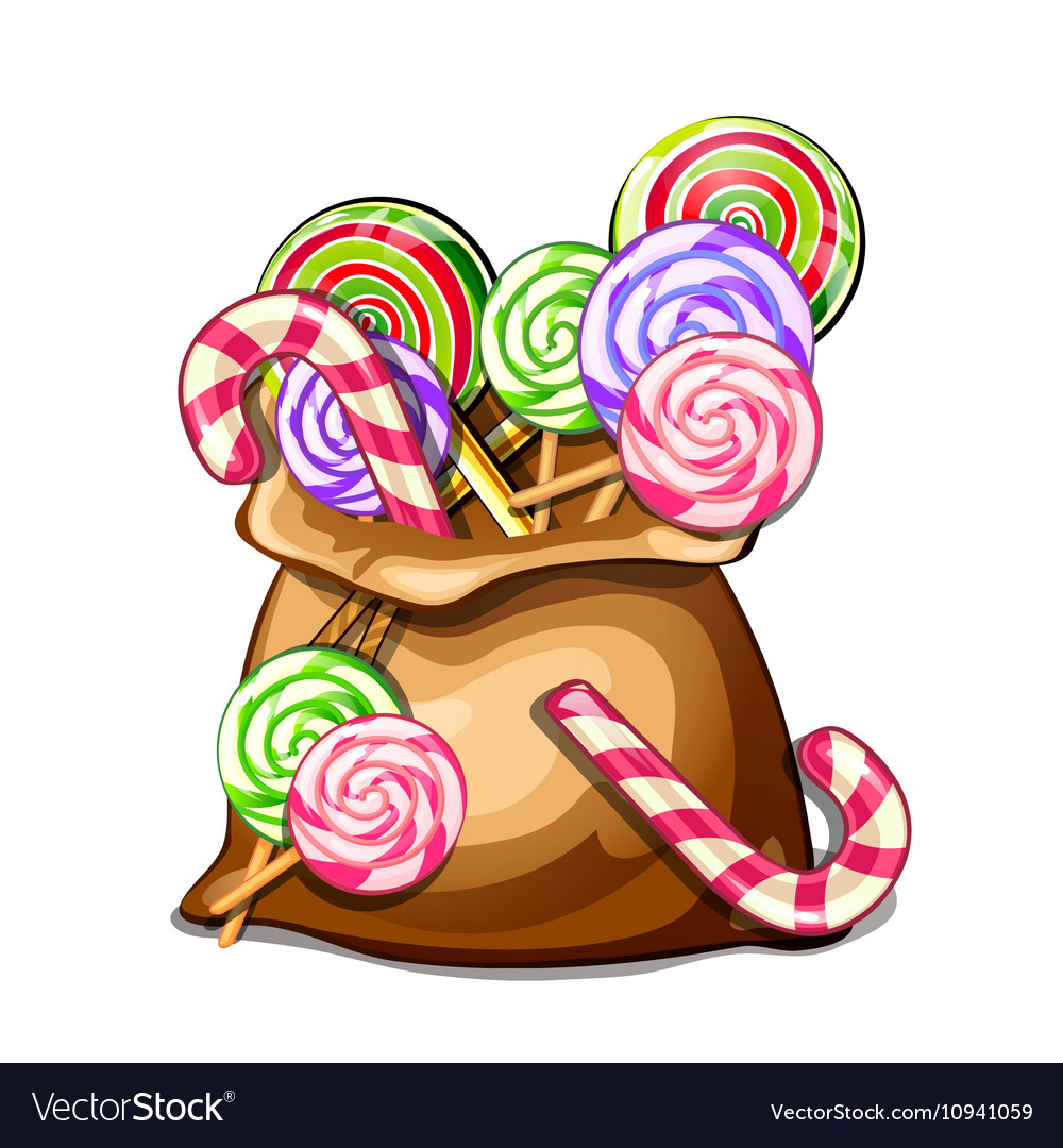 Bag with colorful spiral lollipops sweets vector