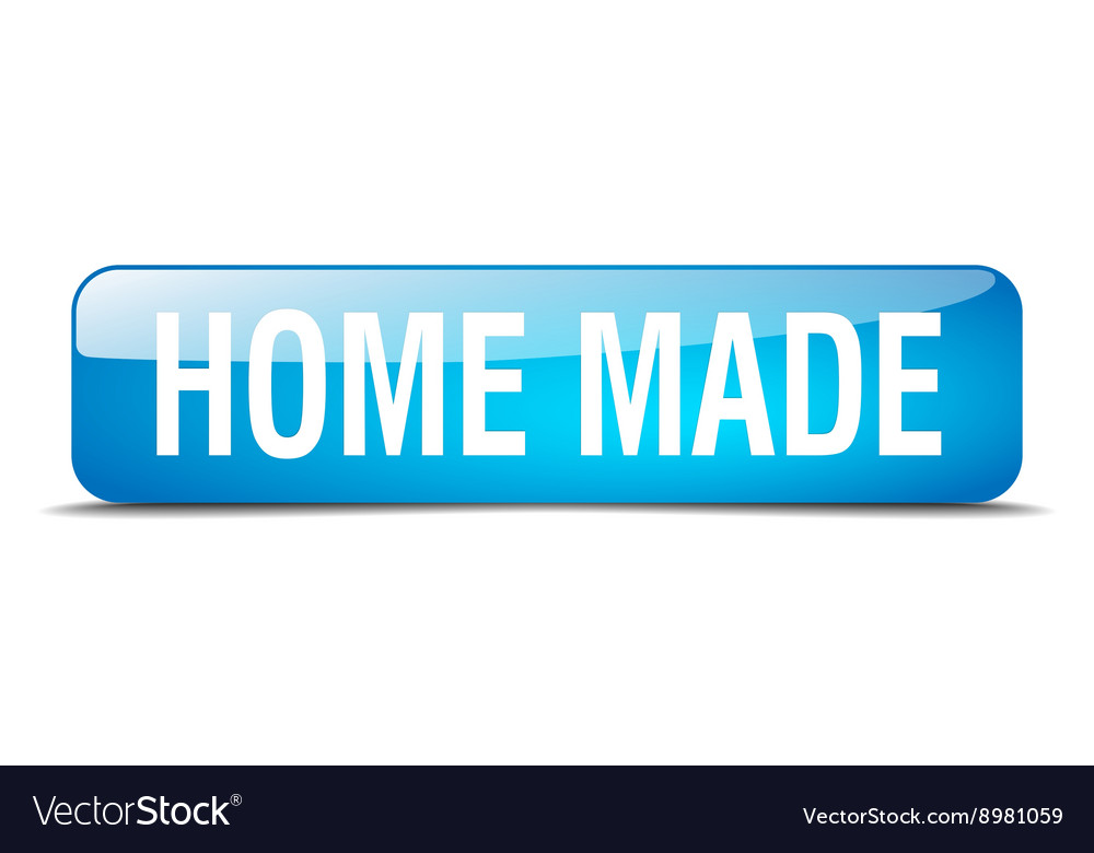 Home made blue square 3d realistic isolated web vector