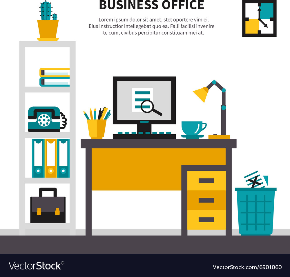 Business workspace in office interior vector