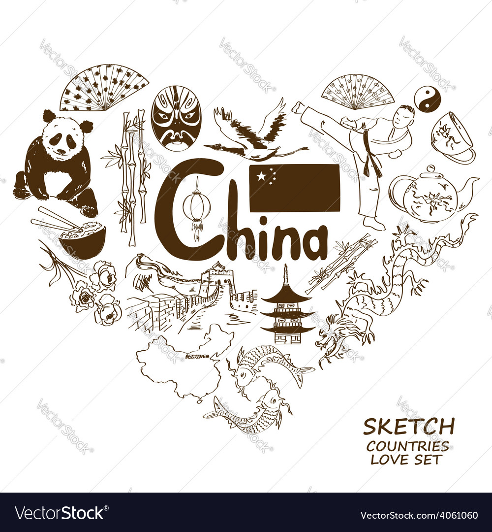 Chinese symbols in heart shape concept vector