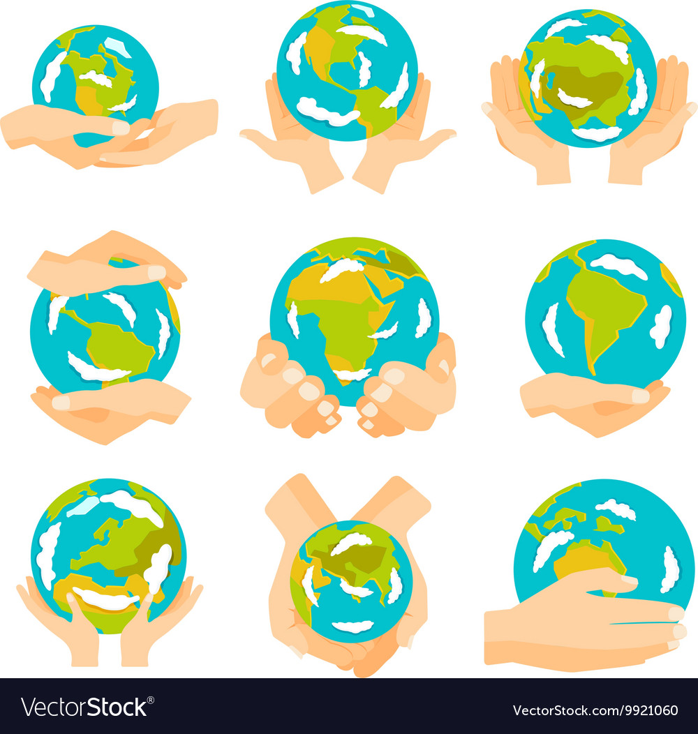 Earth hands set vector