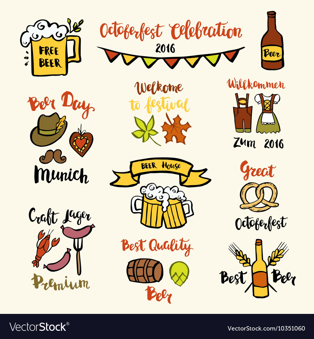 Set of octoberfest beer vector
