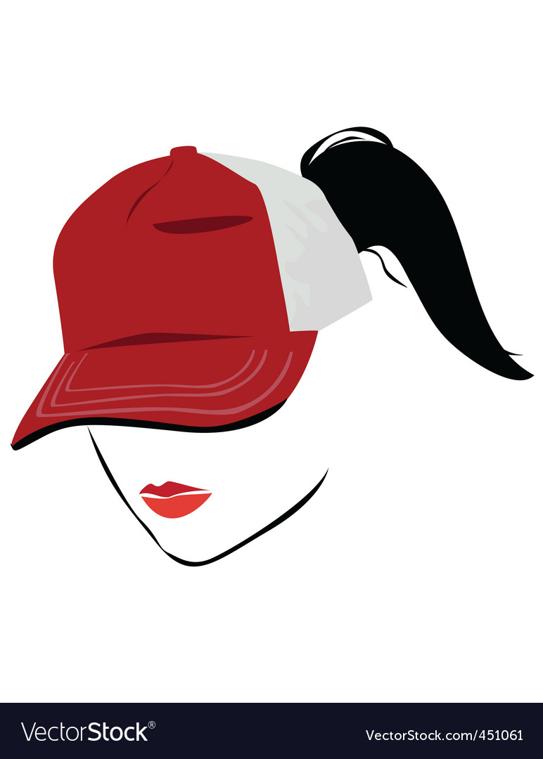 Cap with ponytail vector
