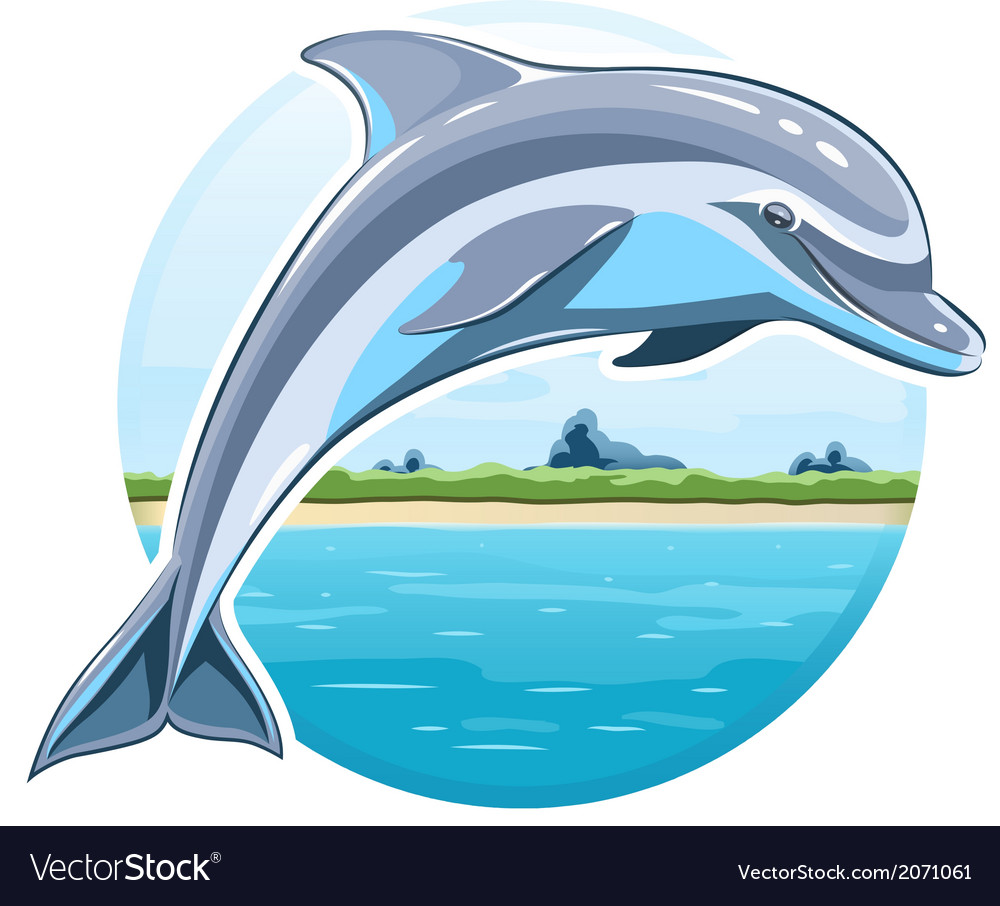 Dolphin on sea background vector