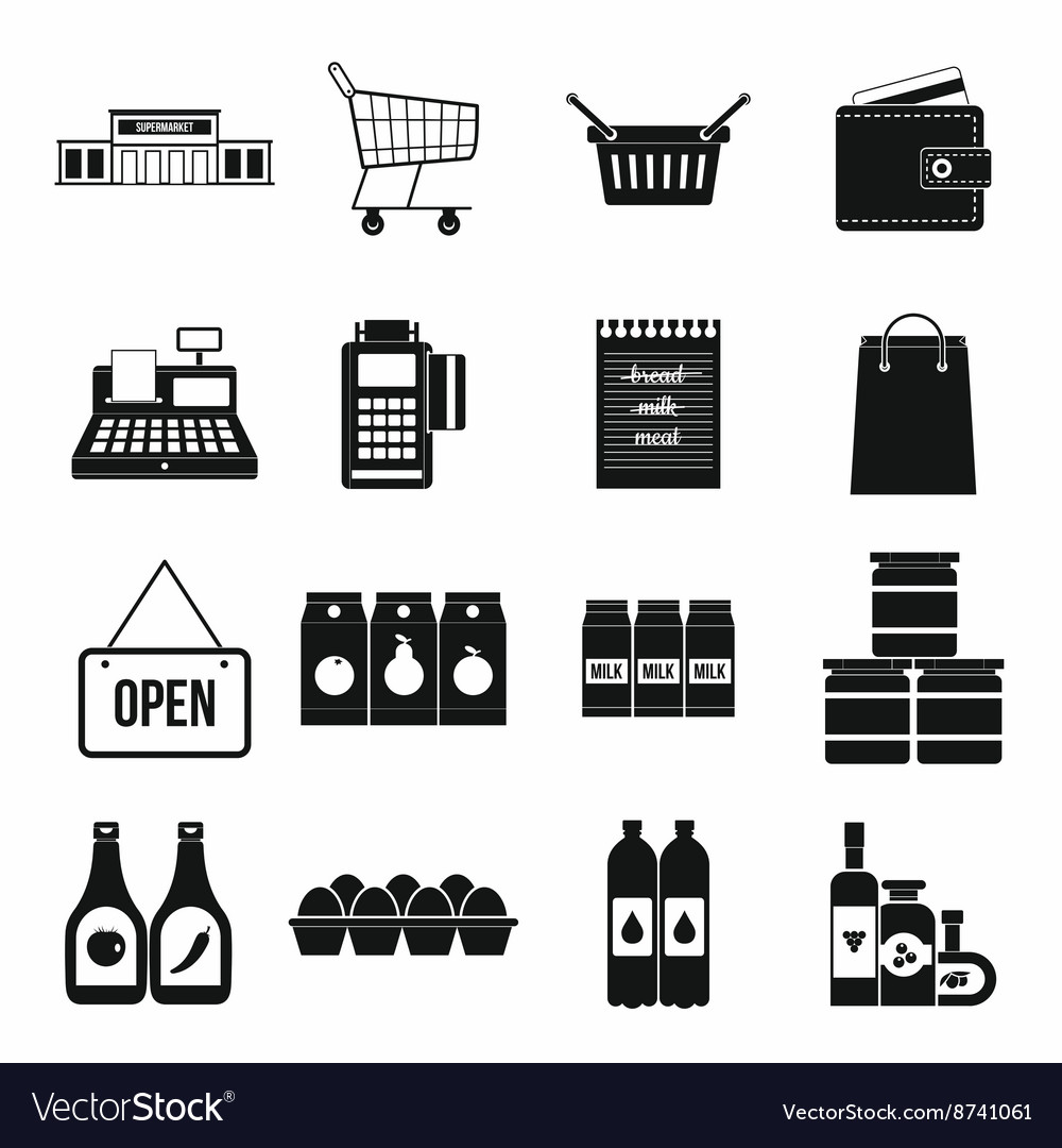 Supermarket icons set simple style vector