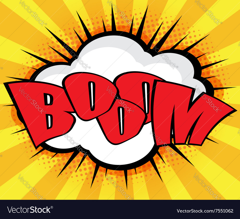 Boom pop art comic book speech bubble background vector