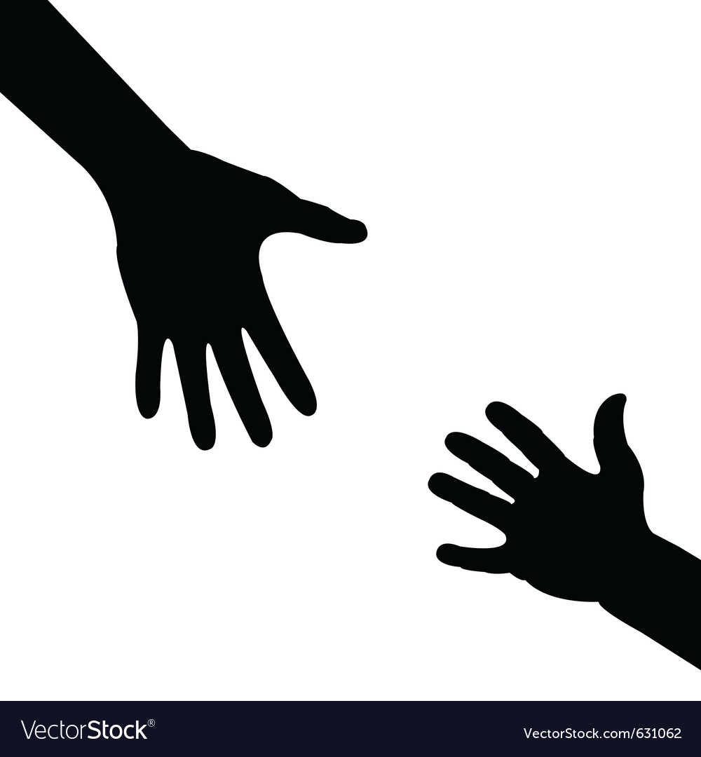 Silhouette hand  helping hand vector