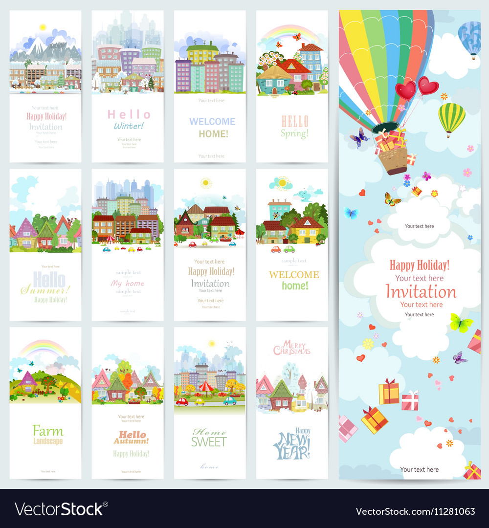 Lovely set banners of cute cityscape urban vector