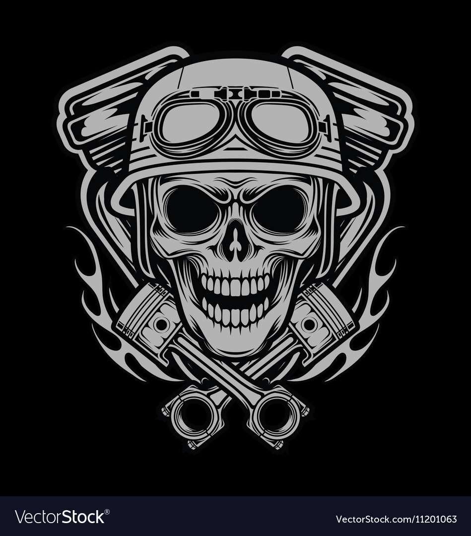 Riders skulls with machine and piston head vector