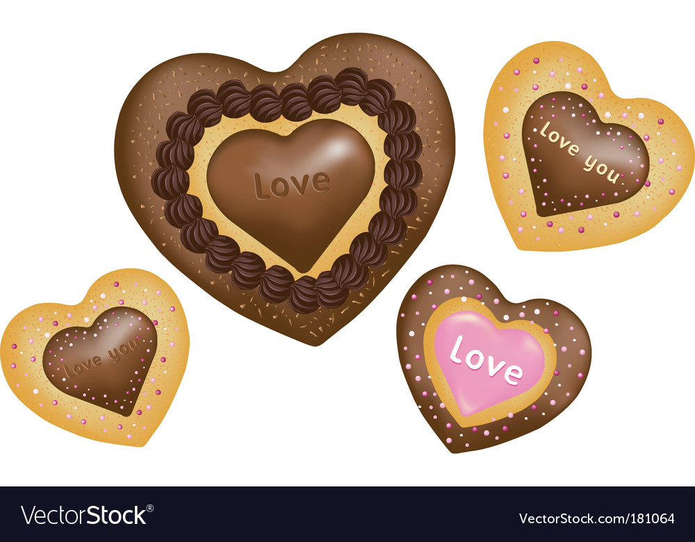 Chocolate cookies hearts shape vector