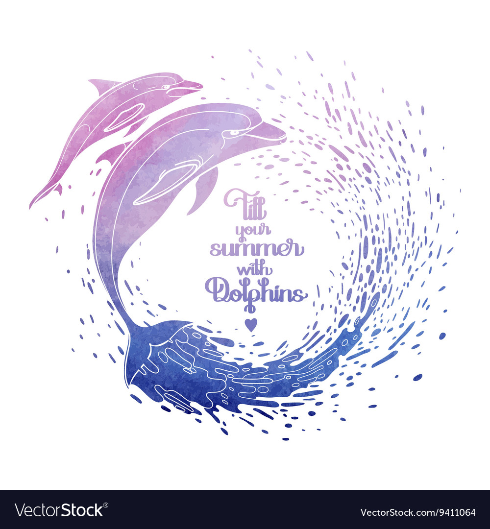 Graphic dolphins with circle of water vector